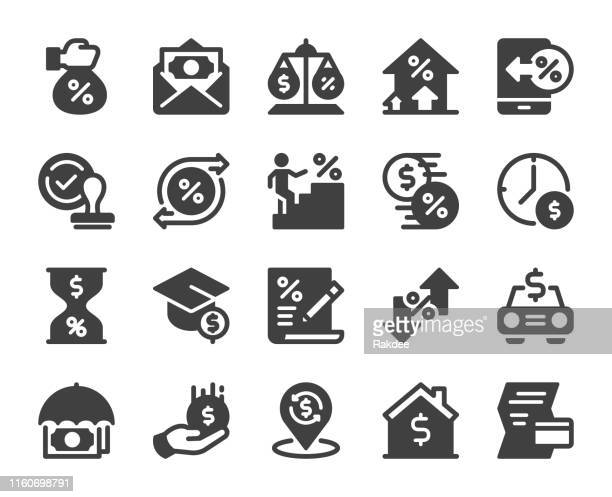 loan and interest - icons - interest rate stock illustrations
