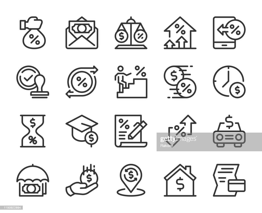 Loan and Interest - Line Icons : stock illustration