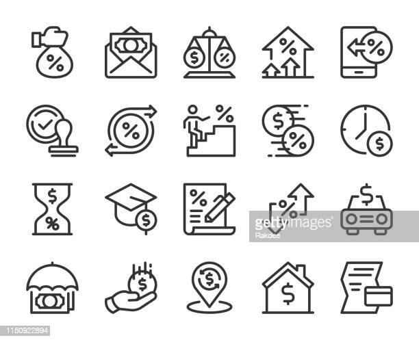 loan and interest - line icons - percentage sign stock illustrations