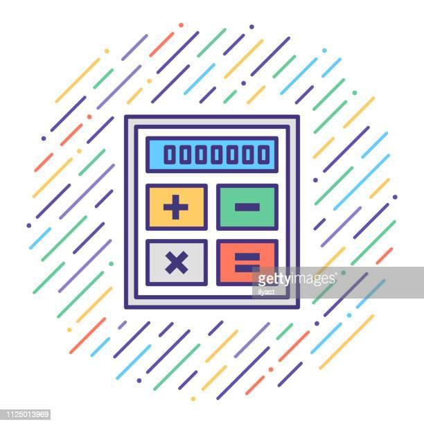 illustrations, cliparts, dessins animés et icônes de calculatrice de prêt ligne plate icône illustration - renvoyer la balle