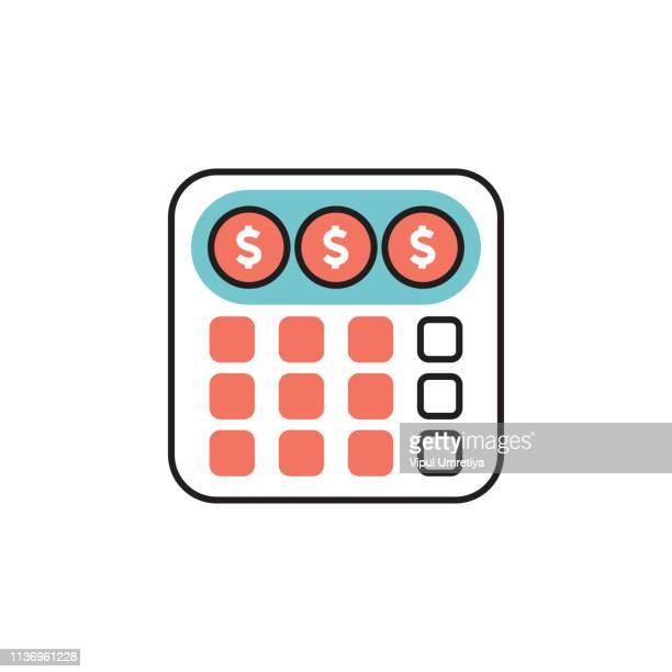 ilustraciones, imágenes clip art, dibujos animados e iconos de stock de préstamo, calculadora, inmobiliaria, negocios, finanzas, hipoteca - impuestosobrelarenta