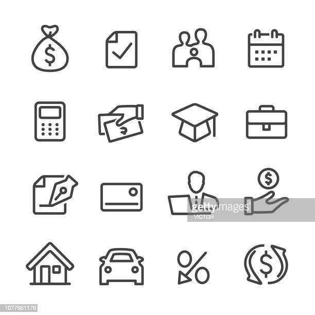 loan icons - line series - part of a series stock illustrations