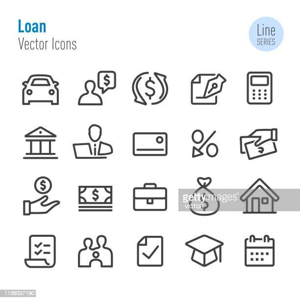 illustrazioni stock, clip art, cartoni animati e icone di tendenza di loan icons - vector line series - parte di una serie