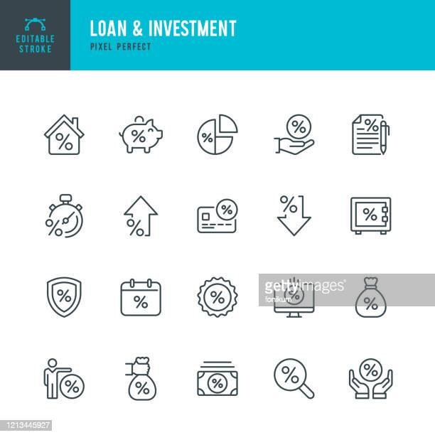 loan & investment - thin line vector icon set. pixel perfect. editable stroke. the set contains icons: interest rate, loan, investment, bank deposit, expense, mortgage. - mortgage loan stock illustrations
