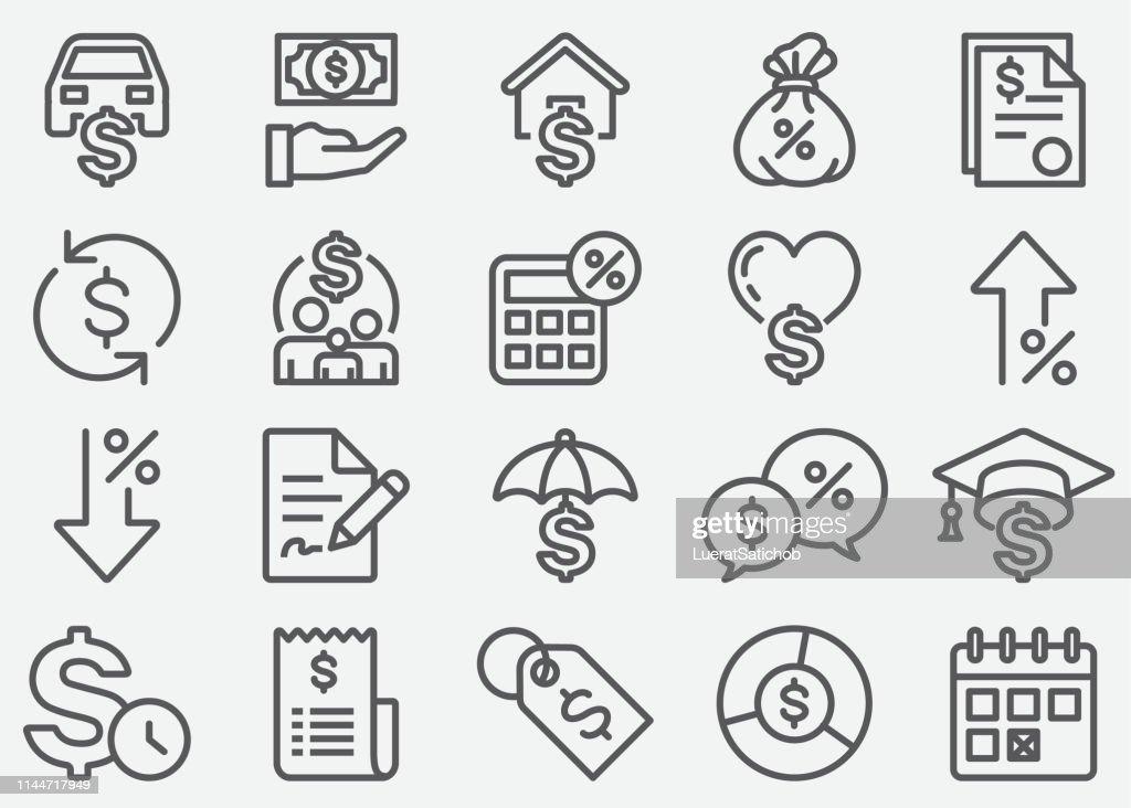 Linha ícones do empréstimo : Ilustração