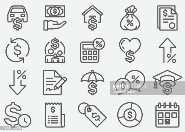 loan line icons - loan stock illustrations