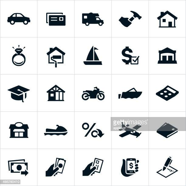 loan types icons - borrowing stock illustrations