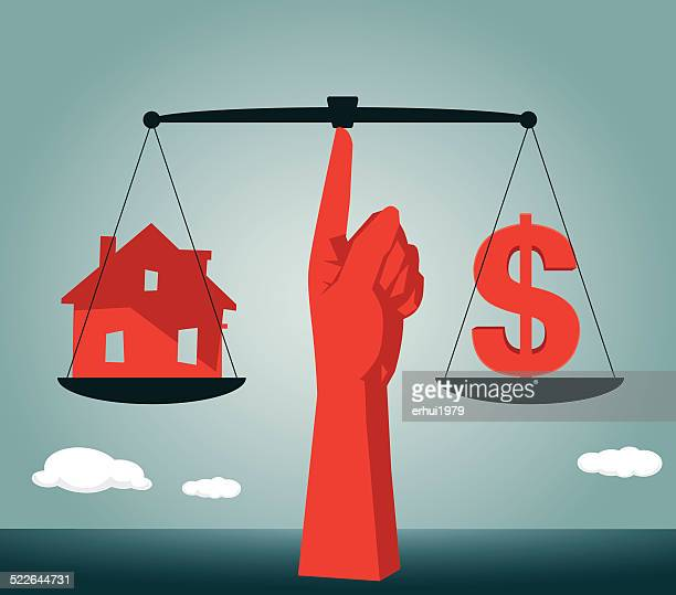 loan,investment,dollar sign, house,real estate,dollar - high up stock illustrations