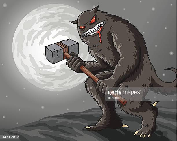 lobo by night - bigfoot stock illustrations