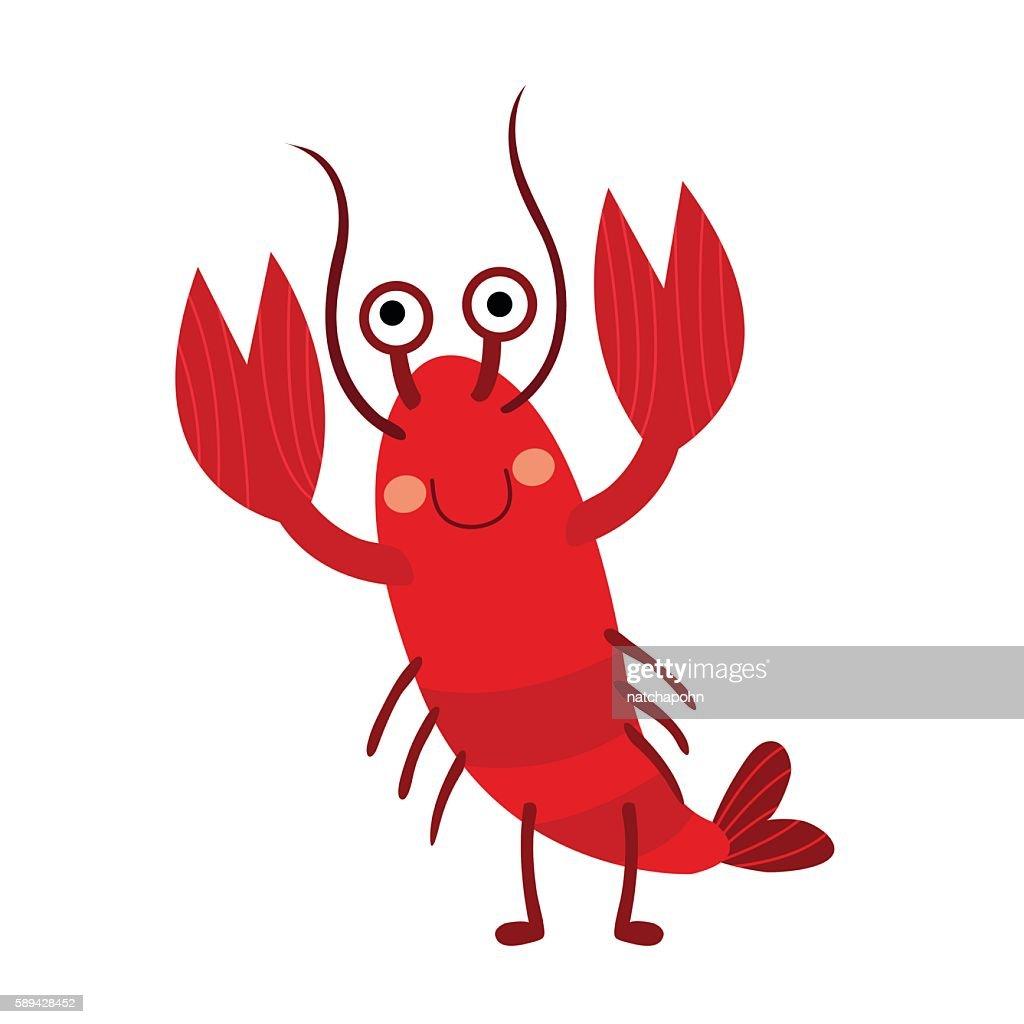 Lobster animal cartoon character vector illustration.