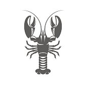 Lobster black and white vector illustration