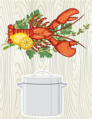 background for lobster boil party hand