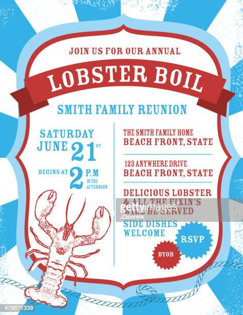 Lobster boil Indpendence Day invitation design template
