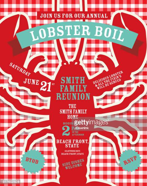 Lobster Boil invitation design template red and white tablecloth background
