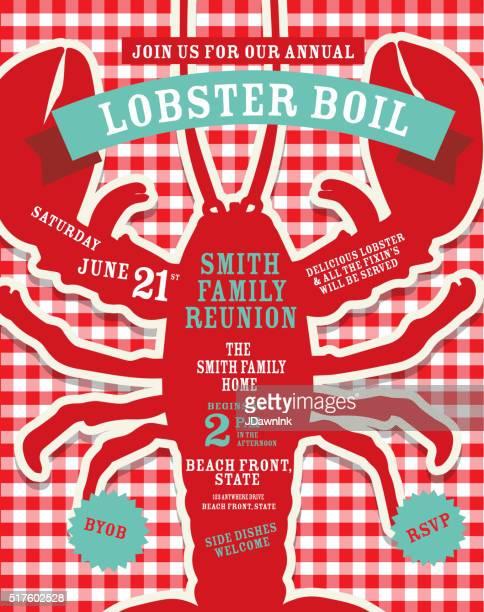 Crawfish Kochen Einladung design-Vorlage rote und weiße Tischtuch Hintergrund