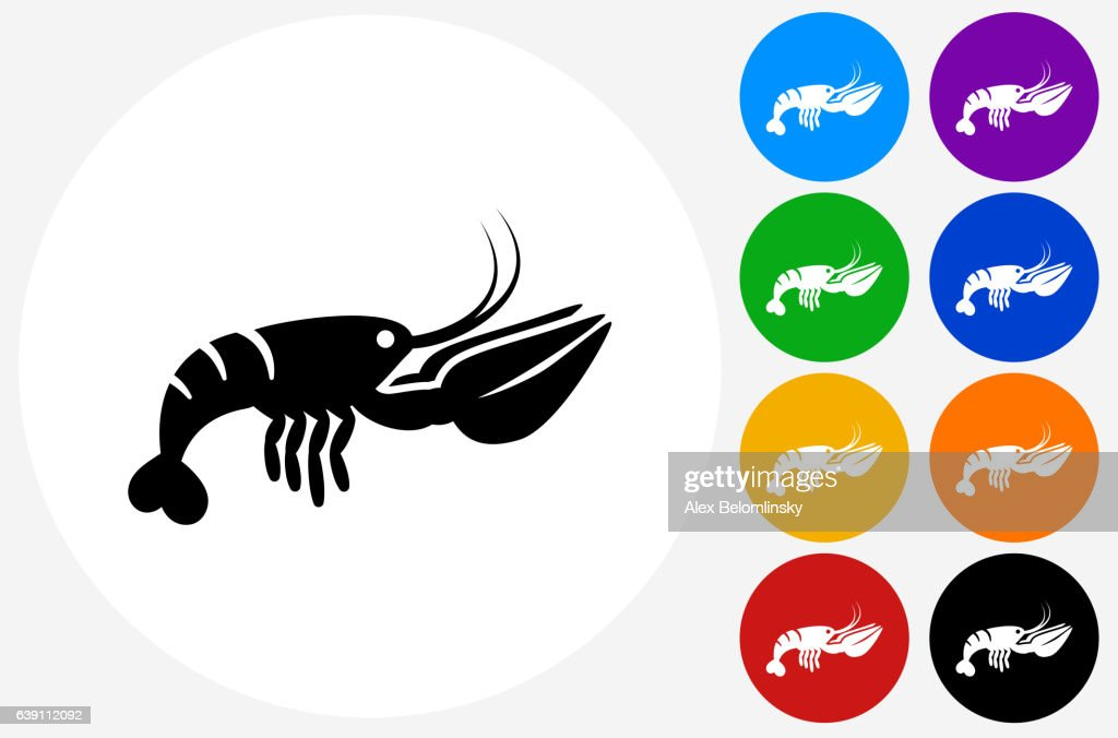 Lobster Icon on Flat Color Circle Buttons