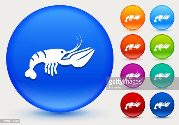 Lobster Icon on Shiny Color Circle Buttons
