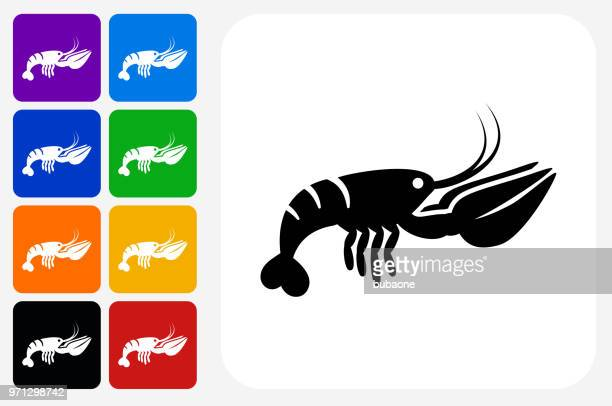 Lobster Icon Square Button Set