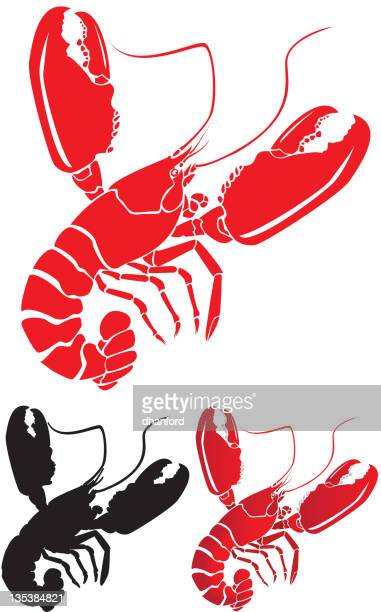 lobster with big claws - claw stock illustrations, clip art, cartoons, & icons