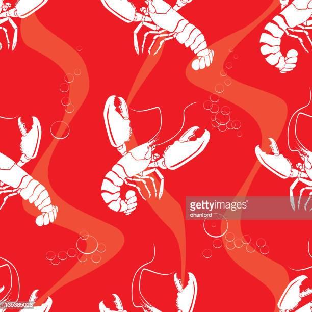 lobsters, seamless pattern - red lobster restaurant stock illustrations