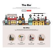 Local bar flat line web graphics