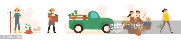 ilustrações, clipart, desenhos animados e ícones de ilustração do vetor local do conceito de fazenda. design moderno plano para página da web, banner, apresentação etc. - produto local