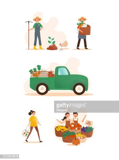 ilustrações, clipart, desenhos animados e ícones de ilustração do vetor do conceito de agricultura local. design moderno plano para página da web, banner, apresentação etc. - produto local