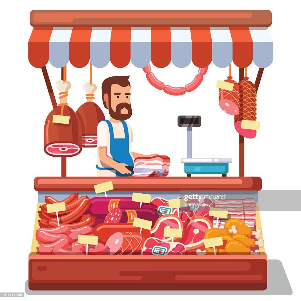 Local market farmer selling fresh meat