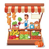 Local market farmer selling vegetables