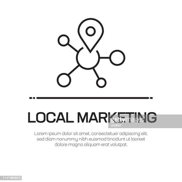 ilustrações, clipart, desenhos animados e ícones de ícone local da linha do vetor do mercado-ícone fino simples da linha, elemento superior do projeto da qualidade - produto local