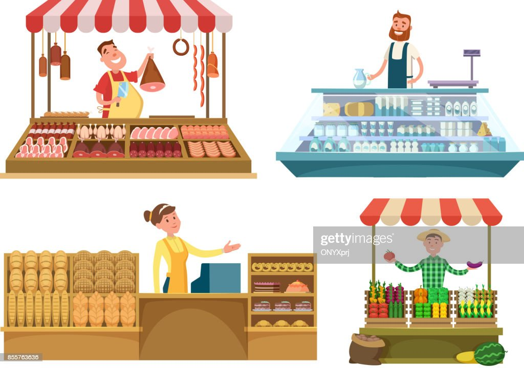 Local markets. Fresh farm foods, meat, bakery and milk. Shopping places isolated on white background