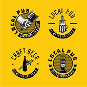 Local pub and brewery sign collection. Retro style emblem for craft beer.