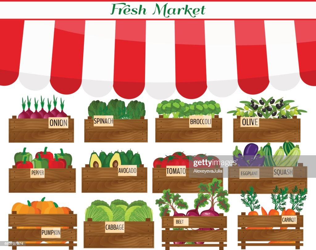 Local vegetable stall. Fresh organic food products shop on shelves. . Agriculture exhibition poster.