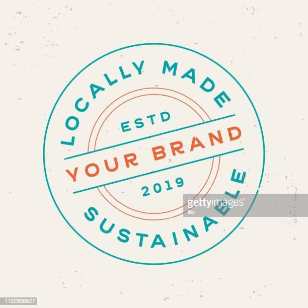 ilustrações, clipart, desenhos animados e ícones de símbolo sustentável localmente feito do projeto do selo do produto - produto local