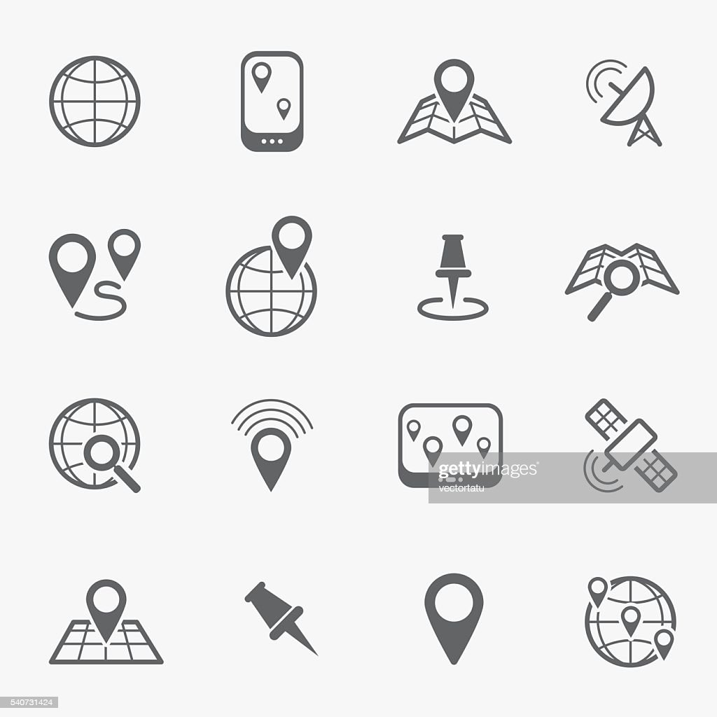 Location and navigation line icons