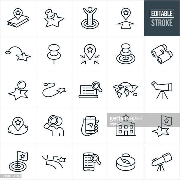 ilustraciones, imágenes clip art, dibujos animados e iconos de stock de ubicación y búsqueda iconos de línea fina - trazo editable - en búsqueda