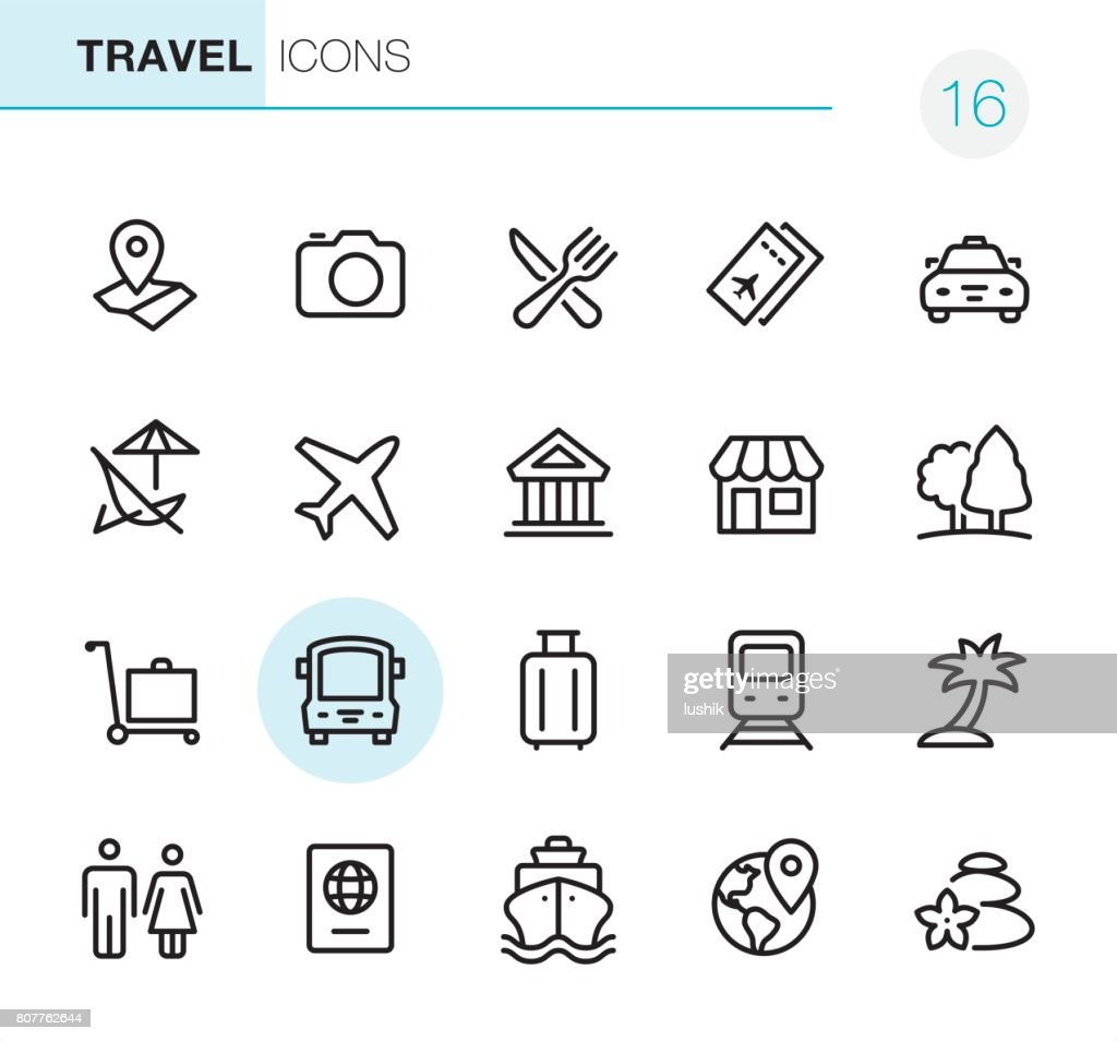 Location and Travel - Pixel Perfect icons : stock illustration