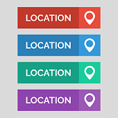 Location flat button on grey background.