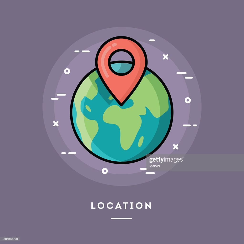 Location, flat design thin line banner