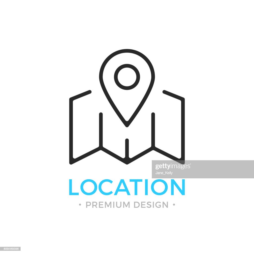 Location icon. Map with map pin, pointer, marker, locator, geolocation, navigation concepts. Stroke, outline, linear, line style. Vector thin line icon