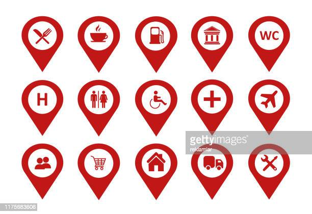 location icons set vector. map pin location icons set on white background. - distance marker stock illustrations