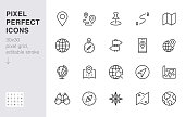 Location line icon set. Compass, travel, globe, map, geography, earth, distance, direction minimal vector illustration. Simple outline sign navigation app ui 30x30 Pixel Perfect Editable Stroke