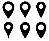 Location pin icon vector. Set of map point symbols isolated. GPS marker. Map marker location. Vector illustration