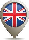 Location Pin With United Kingdom Flag