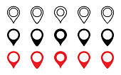 Location Pins collection. Set of Map Pins different shape and design. Tags symbol. Red and Black Pointers gps, isolated on white background. Pin vector icons. Vector