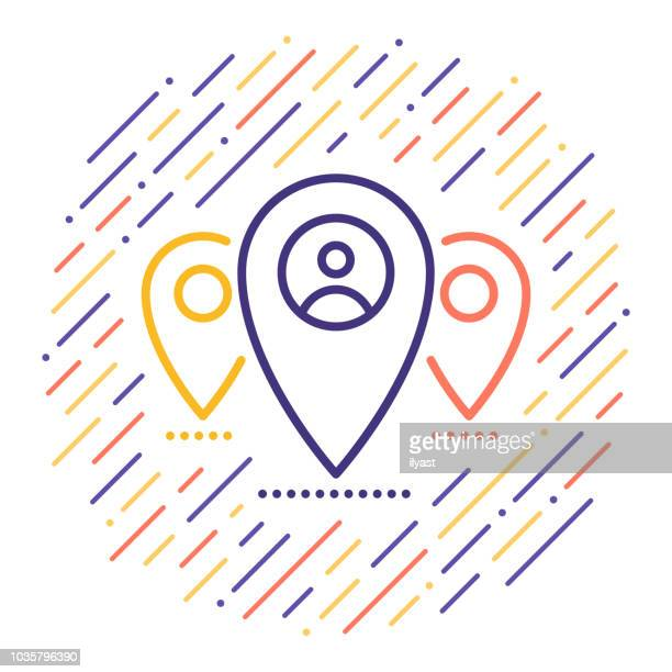 location tag line icon - co ordination stock illustrations