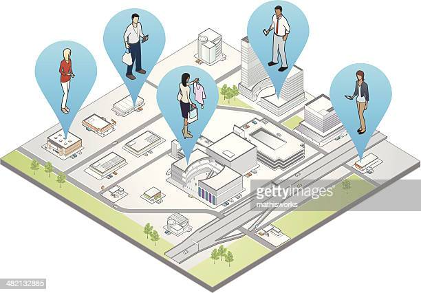 location-based marketing illustration - mathisworks business stock illustrations