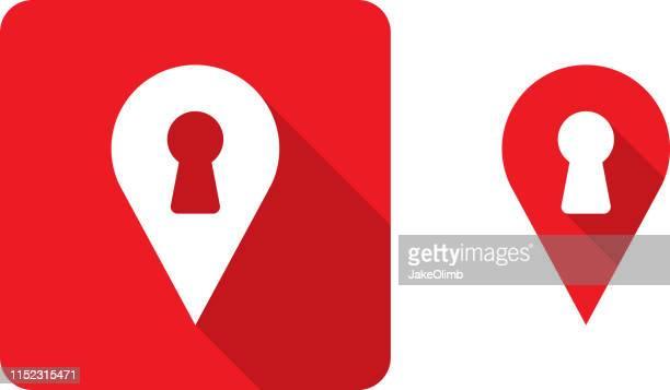 ilustraciones, imágenes clip art, dibujos animados e iconos de stock de ubicaciones marcador de cerradura icono silueta - ojo de cerradura