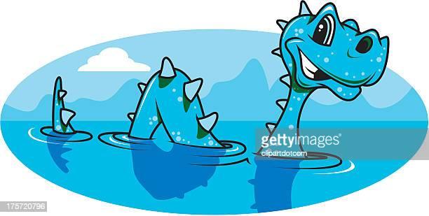 loch ness monster - loch ness monster stock illustrations