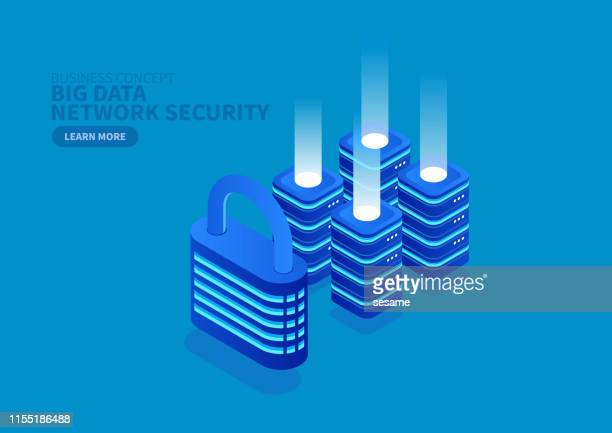lock and big data network security - security stock illustrations
